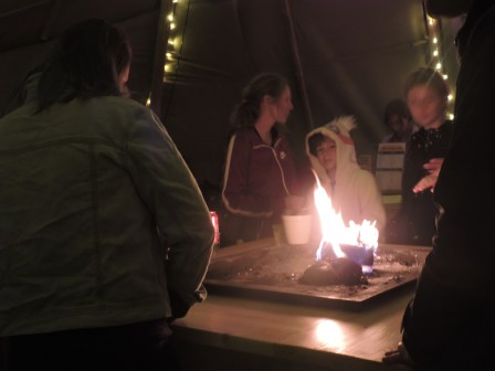 The fire pit in the Giant Tipis social area, cafe and bar