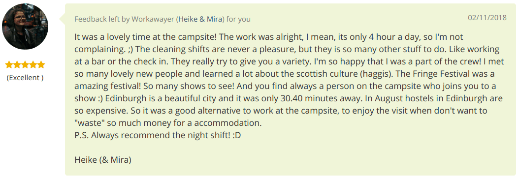 Volunteer review of Edinburgh Festival Camping