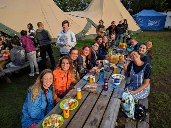 Volunteer social night for our Edinburgh Festival Camping crew
