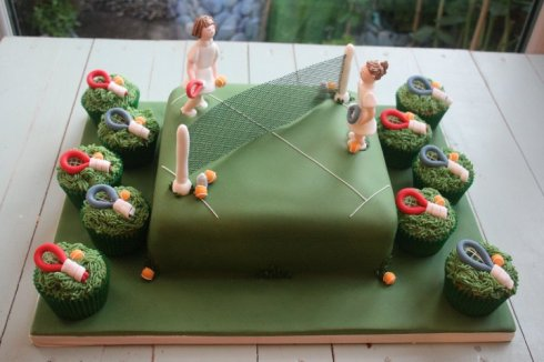 Tennis theme cake and cupcakes