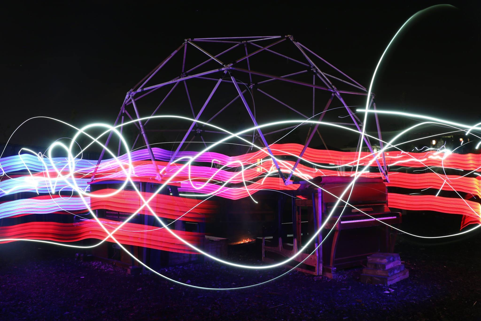 light painting Forge Fete pianodrome geodesic dome