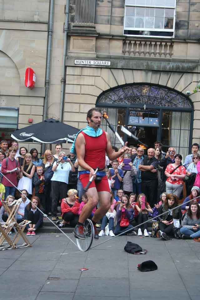 Super Unicycle Juggling Fire at Edinburgh Fringe