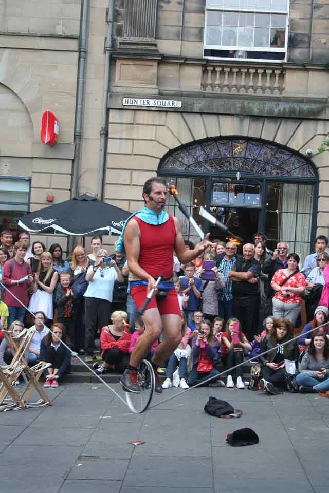 Super Unicycle Juggling Fire at Edinburgh Fringe