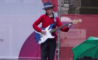 Lewis Noble playing the blues at the Edinburgh Fringe