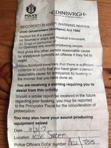 Notice From Police Banning Amplification at Edinburgh Fringe