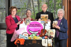 Authors and Organiser Fiona Hyslop celebrating Book Week Scotland 2013 Credit: Scottish Book Trust