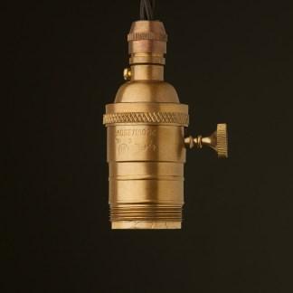 Brass E26 Edison Screw 3 way switched lampholder