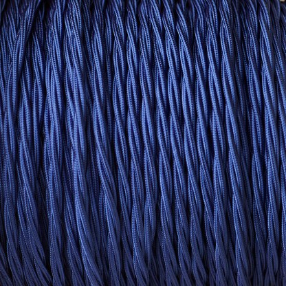 Cloth covered braided 3 core lighting Flex 120V blue