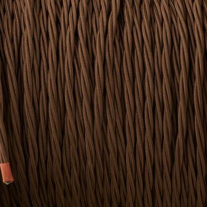 Cloth covered braided 3 core lighting Flex 120V dark brown