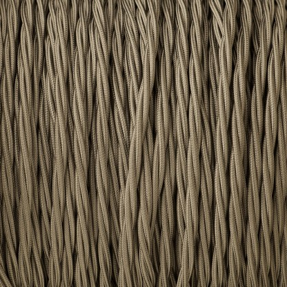 Cloth covered braided 3 core lighting Flex 120V elephant grey