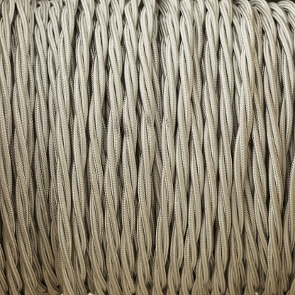 Cloth covered braided 3 core lighting Flex 120V grey