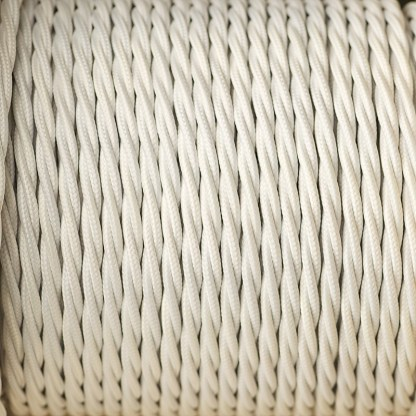 Cloth covered braided 3 core lighting Flex 120V white