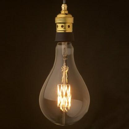 Edison style light bulb and E39 Brass and ceramic pendant