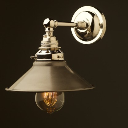 Nickel Straight arm wall sconce shade