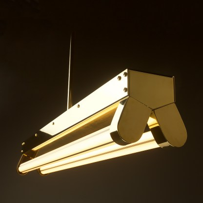 Polished Brass Art Deco Twin LED Tube Light translucent hero