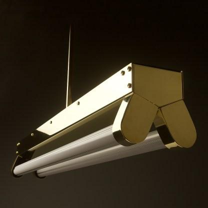 Polished Brass Art Deco Twin LED Tube Light translucent off