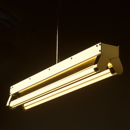 Polished Brass Art Deco Twin LED Tube Light translucent side