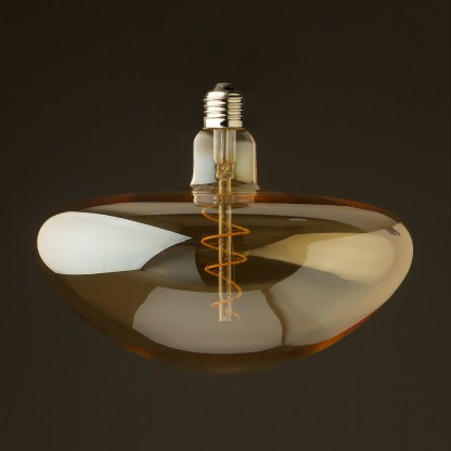 4 Watt dimmable filament LED amber glass mushroom globe off