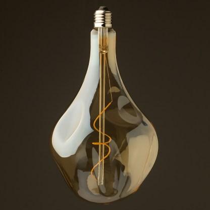 4 Watt dimmable filament LED amber glass A165 random globe off