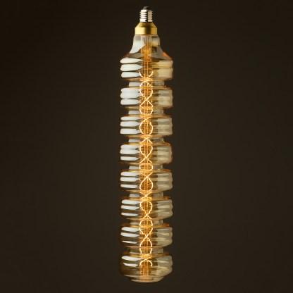 6 Watt dimmable filament LED amber glass long disc globe on