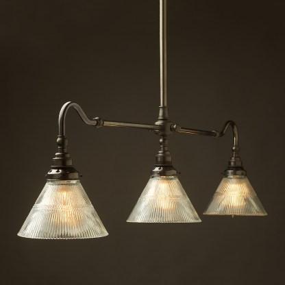 Bronze single drop Billiard Table Light holophane cone