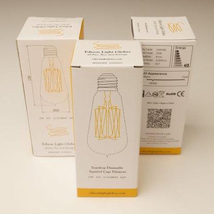 Vintage Edison Squirrel Cage Teardrop Filament Bulb