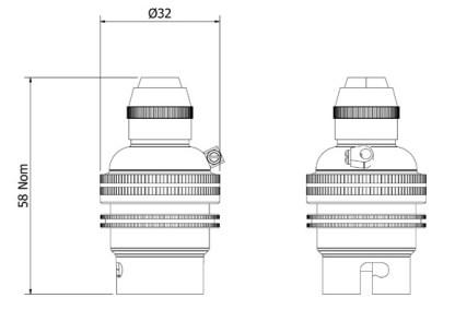 Nickel Pendant Lampholder Bayonet B22 fitting