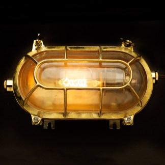 Brass Ships Oval Caged Bulkhead Light