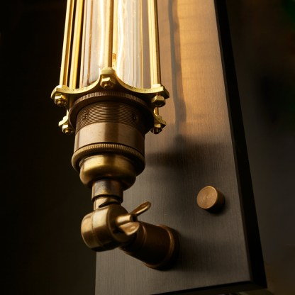 Brass Long Bulb Cage Wall Mount Lamp