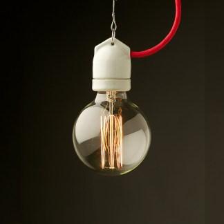 Edison style light bulb E27 White Side Entry Porcelain fitting