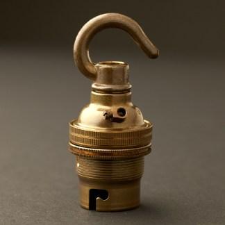 Brass Hook Pendant Lampholder Bayonet B22 fitting