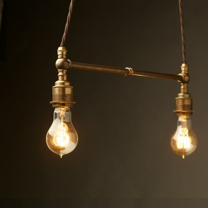 Two Light Shade Brass E27 Pendant