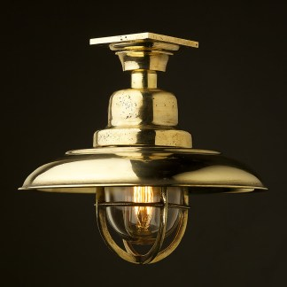Vintage Brass caged reflector ceiling light
