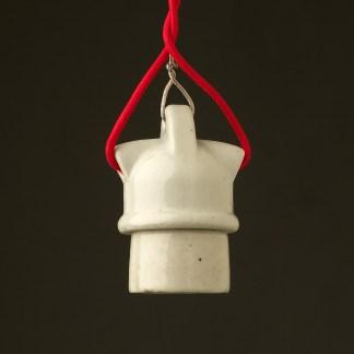 White Porcelain E27 twin entry lampholder