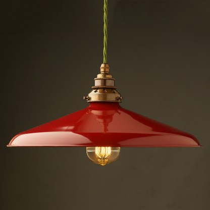 Large Red Enamel Coolie E27 Pendant