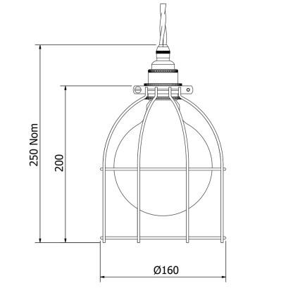 Antiqued Wide Bulb Cage Pendant