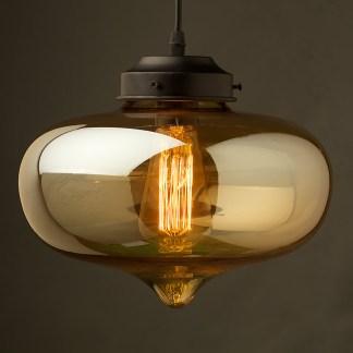 Coffee colored glass round edged jar pendant