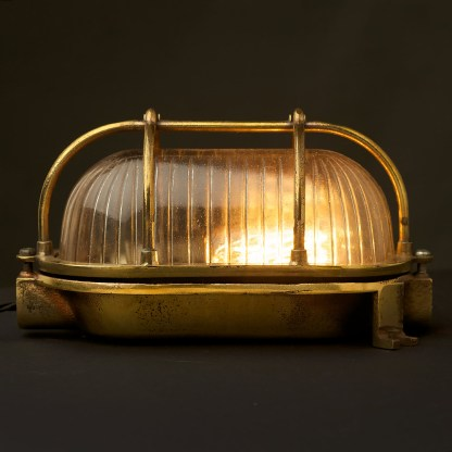 Small Brass Ships Oval Caged Bulkhead Light