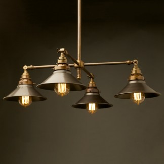 Brass Four Bulb E27 Adjustable Shade Light