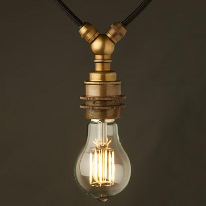 Antiqued brass E27 festoon lampholder