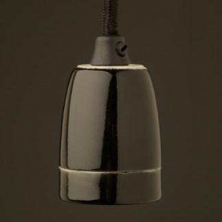 Black Fine Porcelain E27 pendant lampholder