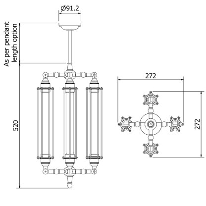 Four Cage Tube Bulb Pendant 290mm