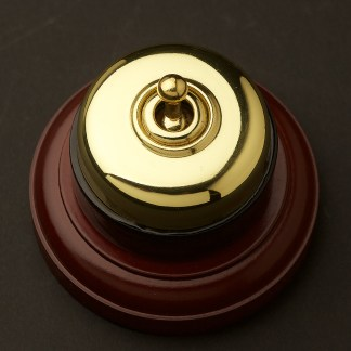 Traditional Antique Brass and porcelain single switch