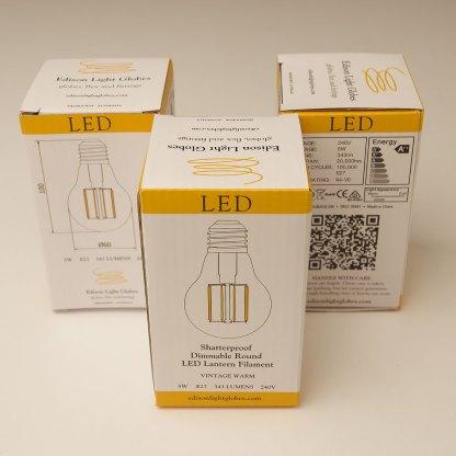 5 Watt Dimmable Filament LED E27 Shatterproof GLS