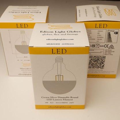 8 Watt Dimmable Crown Silver Filament LED E27 125mm