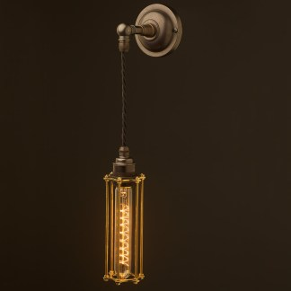 Bronze Medium Bulb Cage Wall Pendant Lamp
