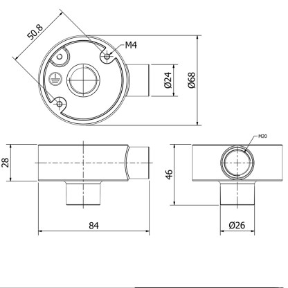 1 Way And Threaded 20mm Conduit Outlet Junction Box