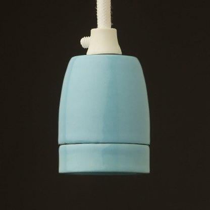 Blue Fine Porcelain E27 pendant lamp holder