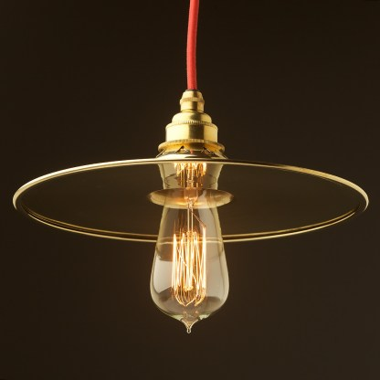Solid Brass 255mm flat shade pendant
