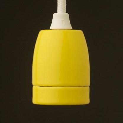 Yellow Fine Porcelain E27 pendant lampholder